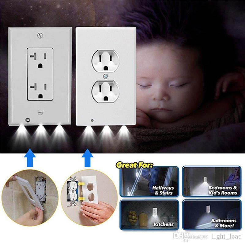 Couvercle de fiche LED Night Light PIR Capteur de mouvement Sécurité Légère Ange Wall Outlet Couloir Chambre Chambre à coucher Salle de bain Lampe de nuit