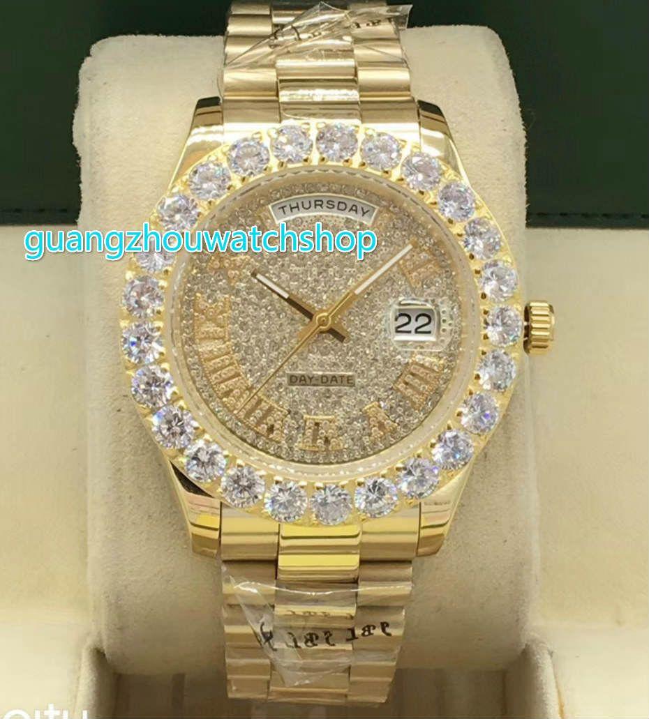 Prong set diamond men's wrist watch gold stainless steel fashion watches dual calendar automatic mechanical 43MM diamond watch
