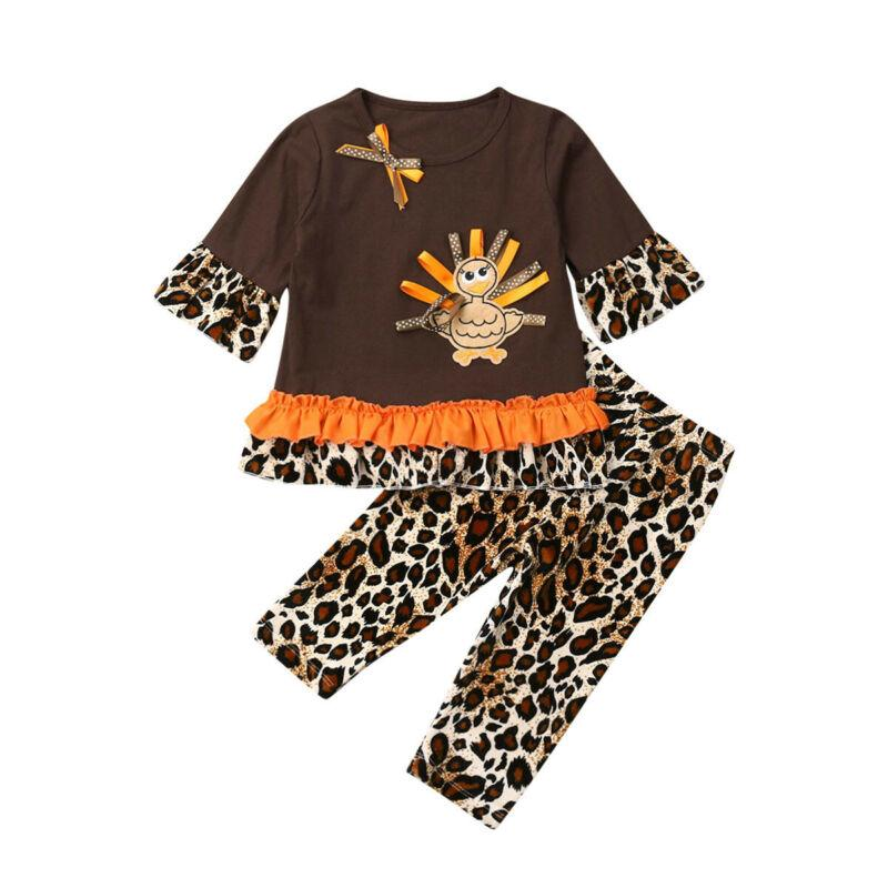 1-5Y 2PCS del capretto del bambino vestiti della ragazza del Ringraziamento Brown Top T-shirt pantaloni del leopardo del cotone lunga bimbi Outfit bambini Set