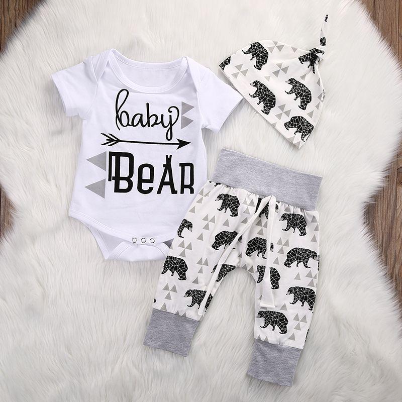 Newborn Set di abbigliamento Ragazze Boy Baby Bear i pagliaccetti delle tute pantaloni cappello 3pcs del bambino Coming Home Abiti Set