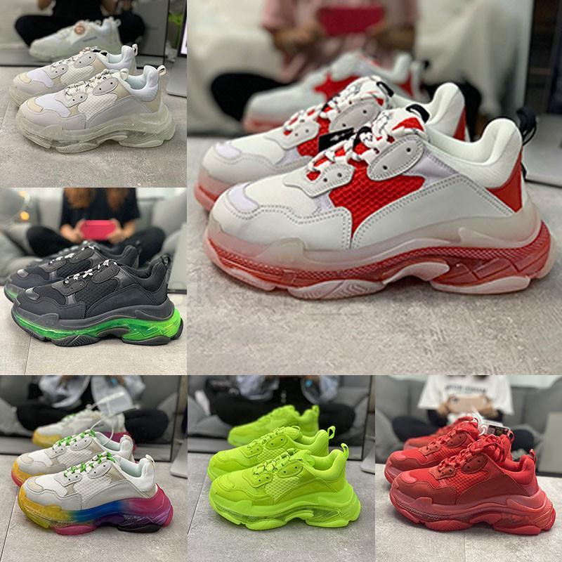Triple-s design Paris 2020 Chaussures 17FW Triple s pour homme femme rouge vert noir blanc Casual papa Chaussures de tennis baskets de plus en plus