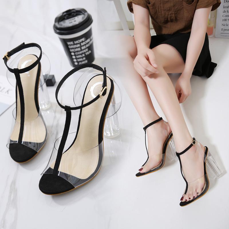 Kadın Ayakkabı Sandal Ücretsiz Gemi Pompa Kız Ucuz Kalın Ökçe için PVC Moda Yüksek Topuk Sandal Şeffaf Topuk Balık Ağız Sandalet Lady Sandal