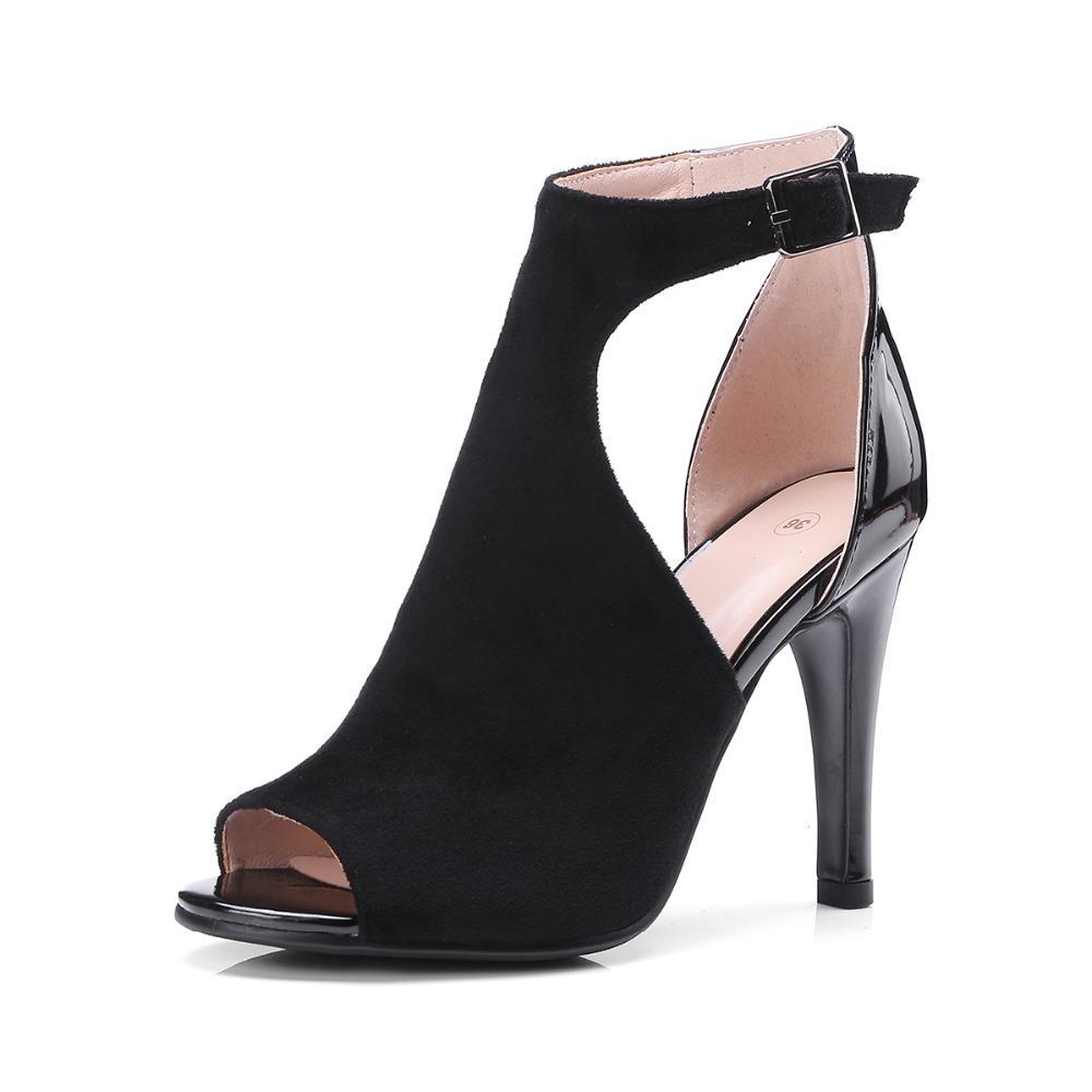 diseño atemporal 1e12c 38b28 Compre 2019 Botines Abiertos Del Verano Del Dedo Del Pie Botas Atractivas  Zapatos De Cuero Del Ante De La Mujer Sandalias De Los Tacones Altos  Zapatos ...