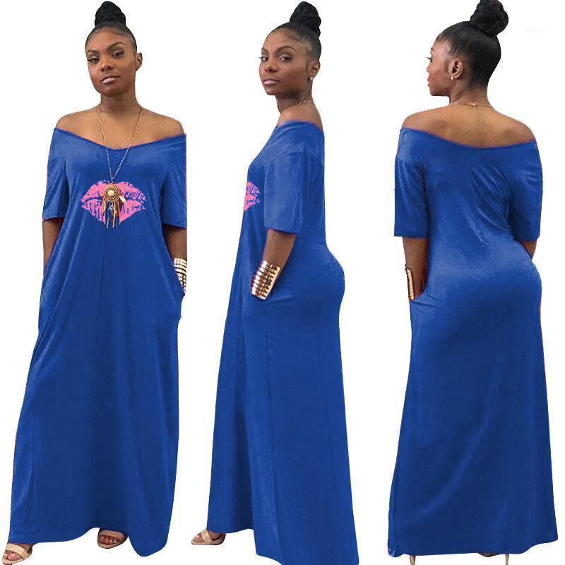 Mi-mollet T-shirt moulante Robes de fête Mode Casual Jupe Night Party Vêtements Pure Color Bouche Imprimer col en V
