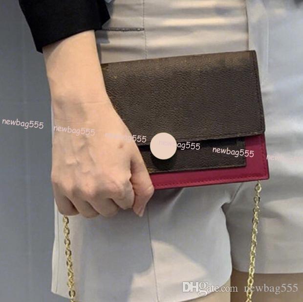 2019 브랜드의 여성 미니 floree chian wallet 아이보닉 송아지 가죽 패브릭 어깨 가방 crossbody woc 클러치 카드 홀더 4colors