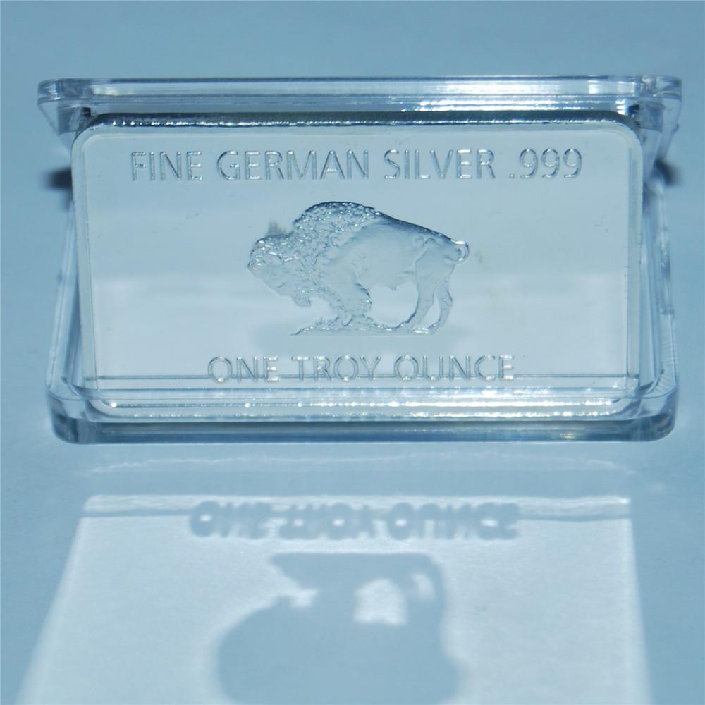 10pcs el envío libre al por mayor / lote 1 Onza Troy alemán Buffalo monedas de plata lingote, alemán astilla 0.999 bar American Buffalo