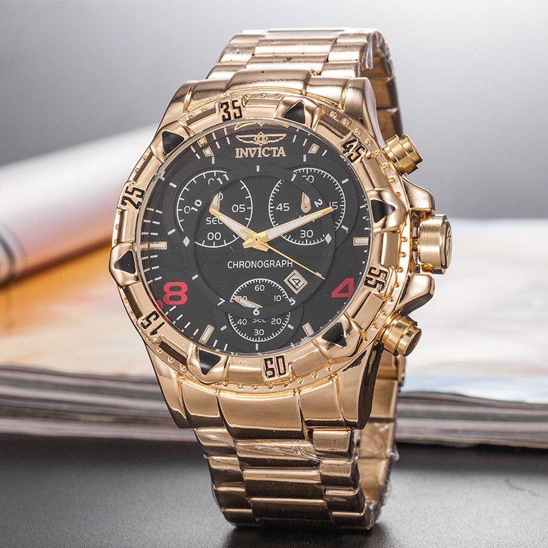Venda quente tamanho grande boa qualidade invicta homens relógio pulseira de aço inoxidável Mens Relógios de Quartzo Relógios de Pulso relogies para homens relojes Melhor Gif