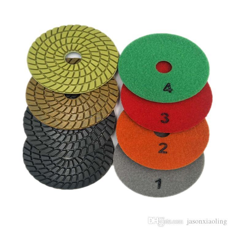 10 Piezas 4 Pulgadas D100mm 4 Pasos Resina Sharp Almohadillas de Pulido Piso de Concreto Pulido Pulido Muela Para Piso Pulido
