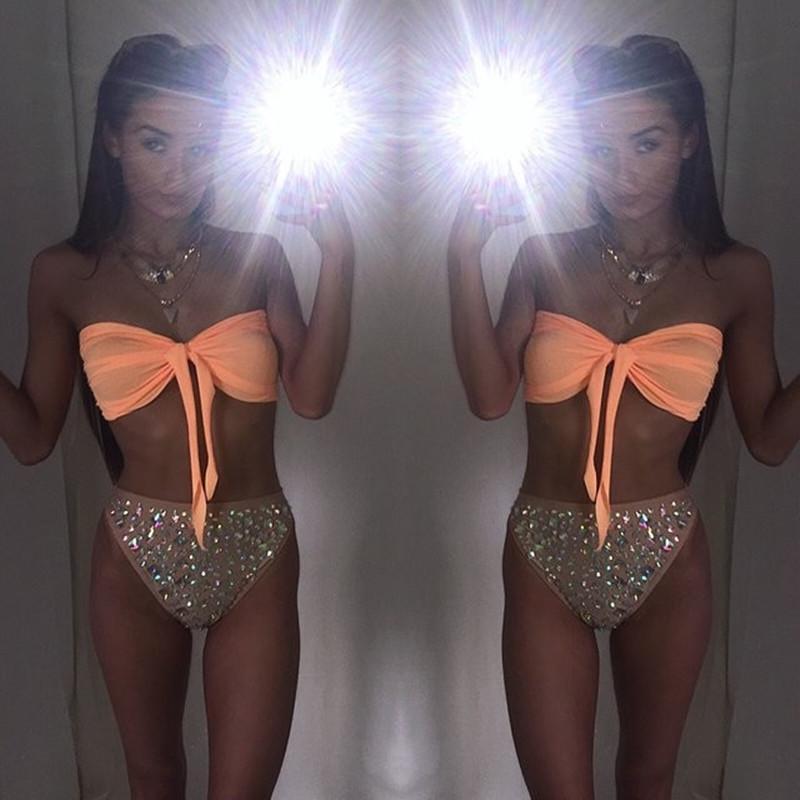 Женщины Sexy Diamond Rhinestone Solid Bikinis Set Женщины Купальники Купальник Купальники Пляжная одежда 2017 Y19072901
