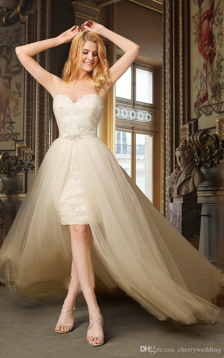 High Low Wedding Dress With Removable Skirt detachable train elegant formal dresses short wedding dresses SW0084