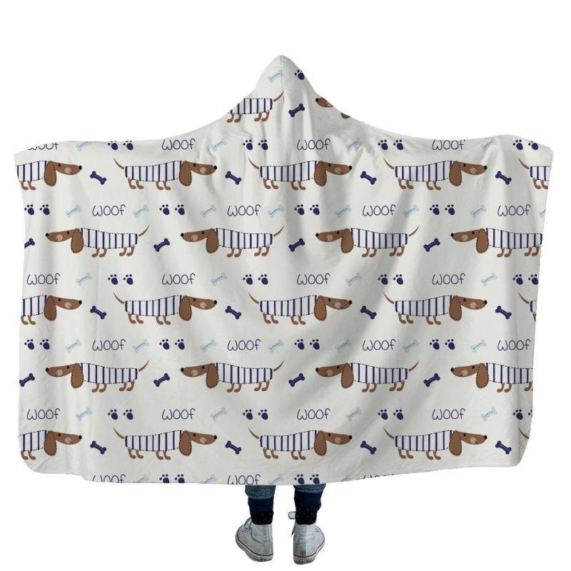 Dachshund 3D Baskı atmak Kapşonlu Seyahat 03 Giyilebilir Sıcak Fleece Yatak Ofisi Yorgan Yumuşak Yetişkin Blanket