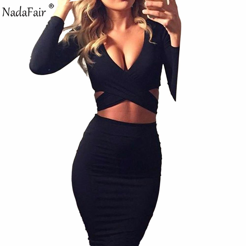 Nadafair Sexy Midi Pencil Club Bodycon Bandage Dress Women Autumn Winter Long Sleeve Red White Black Party Dress Vestidos T200320