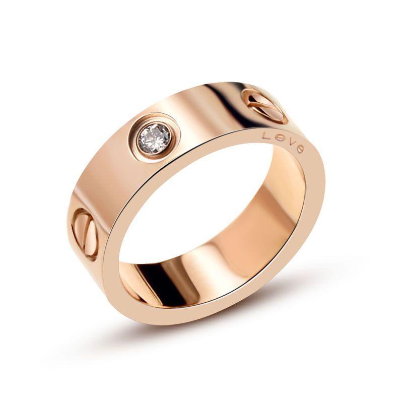 Neue Reihenfolge Bestseller Schraube Titan Stahl Liebe überzog 18K Rose Gold Mädchen Männliche Persönlichkeit einfach wilde Paar Edelstein-Ring Schmuck Großhandel