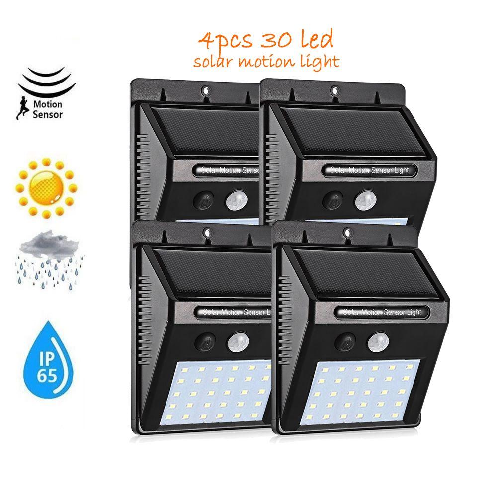 4 pcs Luz Solar 30 LED impermeável ao ar livre Jardim Led Solar Luzes da bateria Lâmpadas Motion Sensor Luz parede lâmpada de rua