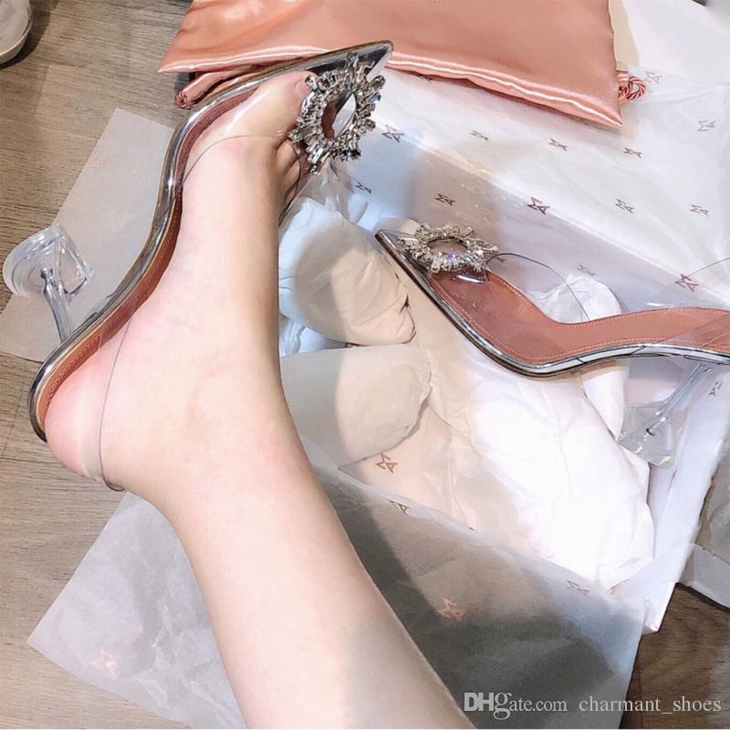 Nuovo PVC trasparente di cristallo pompa i pattini di estate di nuovo Sandali tacco Strani punta aguzza signore convenzionali Bling Bling scarpe festa con Logo