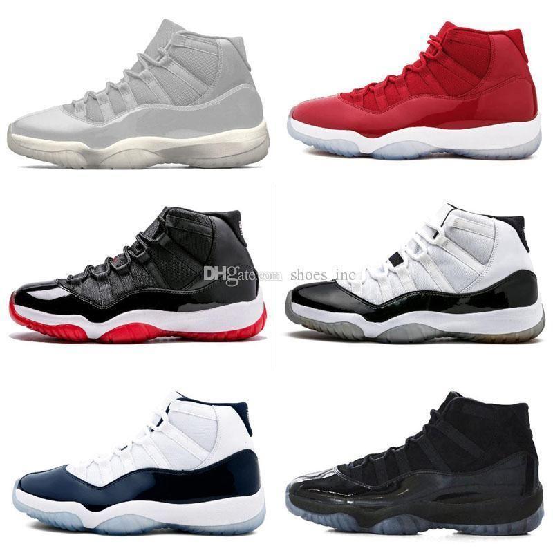 NUEVO 2019 11 Gorro y bata plateados de tintado Gimnasio Rojo Negro Raya de medianoche Zapatos crudos azul marino 11s Hombres Mujeres Baloncesto Retro Zapatillas