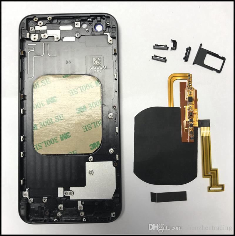 Para el iPhone 7 7Plus cargador inalámbrico receptor flex Para iPhone 8 Estilo de vidrio de nuevo Marco de metal carcasa Reemplazo para iPhone 6G 6S 6Plus