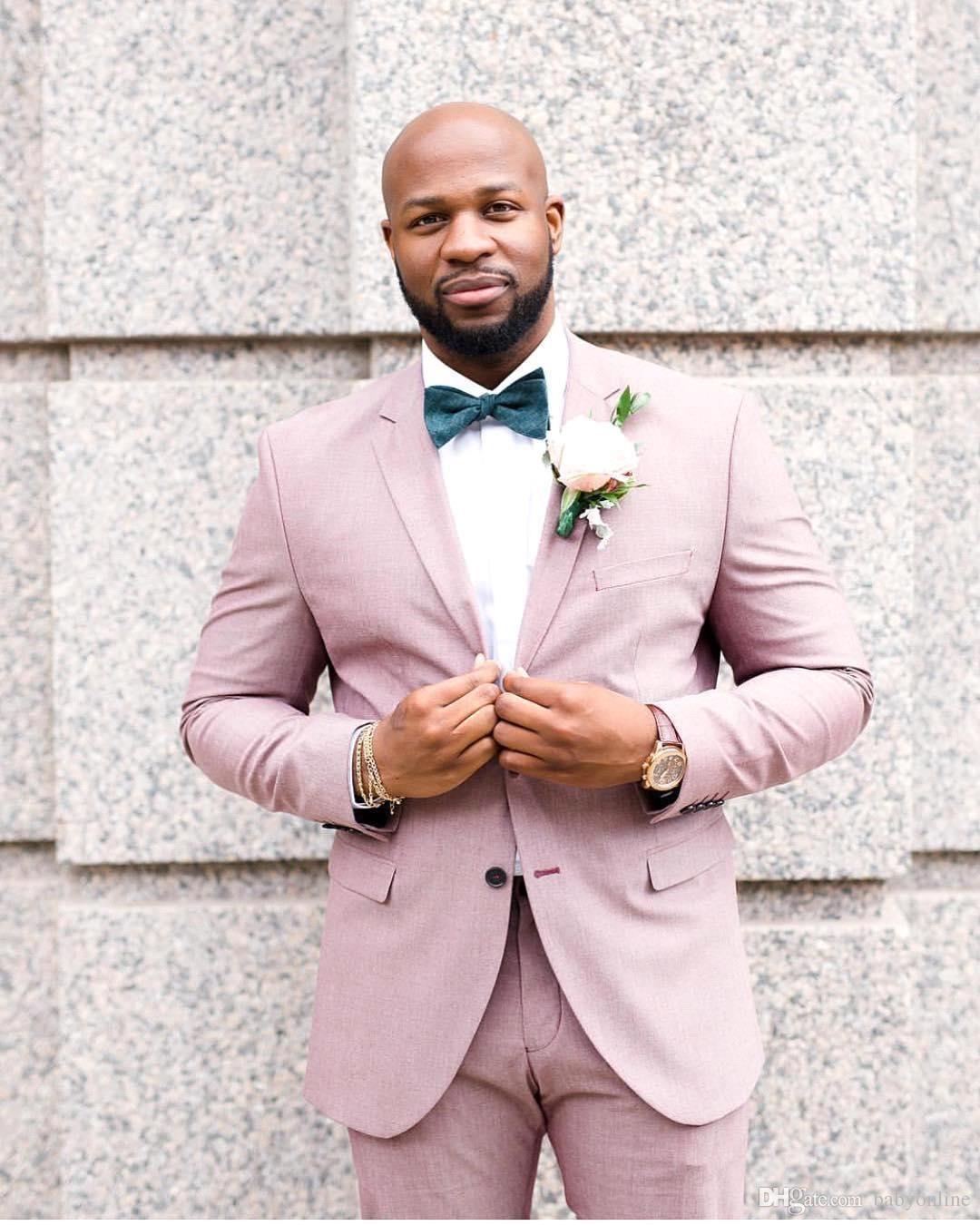 Pink Groom Smoking Padrinhos Notch Lapel Melhor Homem Terno de Casamento dos homens Blazer Ternos Custom Made (Jacket + Pants) SU0058