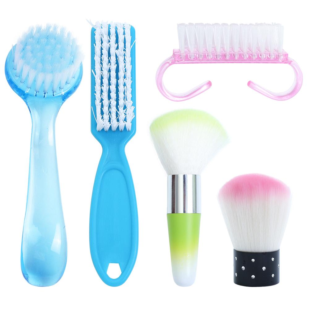 Brosses à ongles 1PC 6 Types ongles Brosse de nettoyage Retirez Cleaner poudre poussière en plastique pour l'art acrylique UV Gel Nails Manucure Soins accessoires SA095