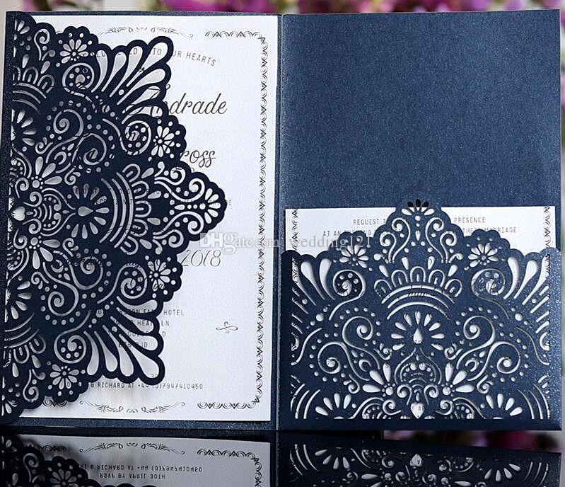 Elegant card invitation customized pocket tri folding business invitation card white blue flower laser cutting(no inner no envelope)
