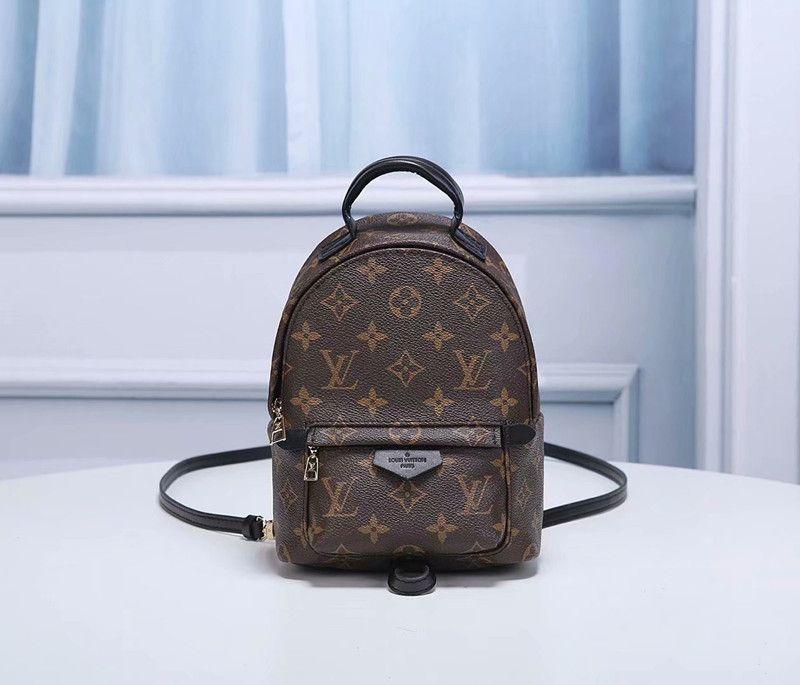 Yüksek Kalite En İyi Fiyat! Özgün Tasarım Hakiki deri mini sırt çantası lüks moda Kahverengi Çiçekler Klasikleri Ile omuz çantası 41561