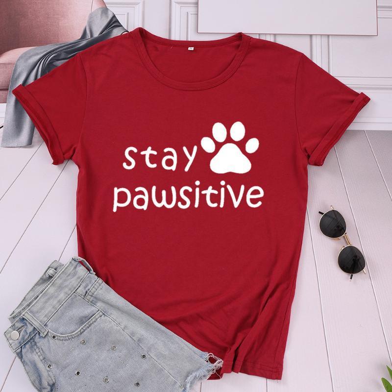 Aufenthalt Pawsitive Cat Dog Mom Shirt Frauen-T-Shirt Mode Lustiges Grafik Plus Size Mama Mutter Shirts aus 100% Baumwolle Kurzarm-Spitze T