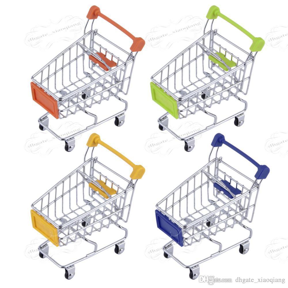 Fashion Mini Supermarket Hand Trolleys Mini Shopping Cart Desktop Decoration Storage Phone Holder Baby Toy