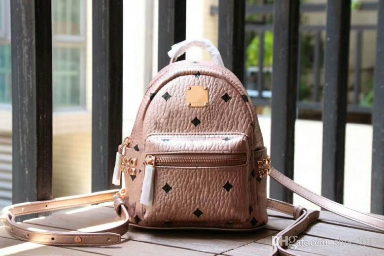 2018 new fashion Korean version M punk studded gold super mini backpack men and women students bag travel backpack