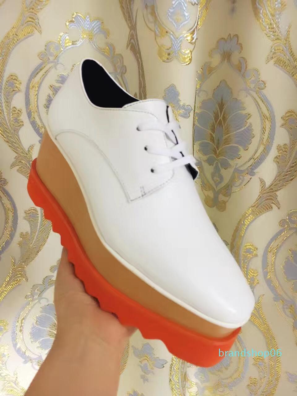 Moda zapatos de cuña Stella McCartney Blanco Calzado de cuero auténtico superior naranja Sole-top Estrellas