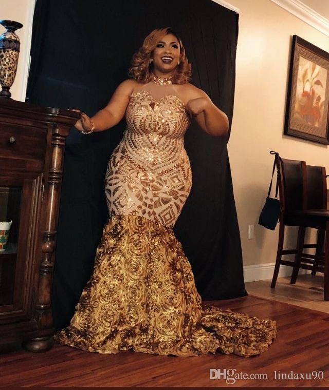 Lüks Altın Mermaid Gelinlik Modelleri 2019 Yeni Kolsuz Sweep Strain Payetli Çiçekler Illusion Örgün Abiye giyim Parti Elbiseler Artı Boyutu