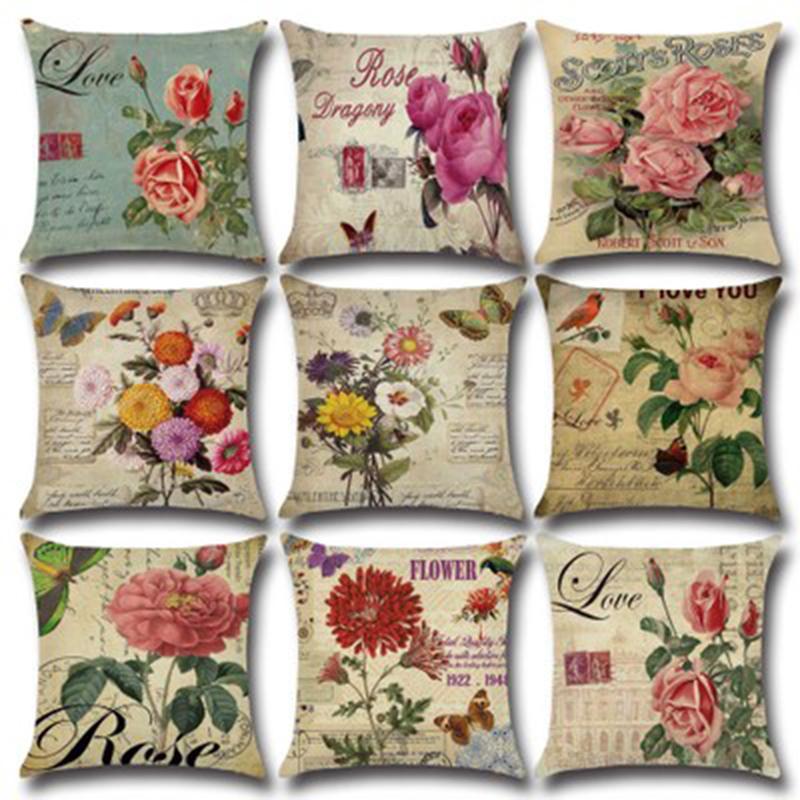 Eco-friendly 45 * 45cm della Rosa del fiore dell'annata del cuscino della cassa Cotone Lino copertura copertura dell'ammortizzatore della Rosa Fiore federa Divano Piazza Lino