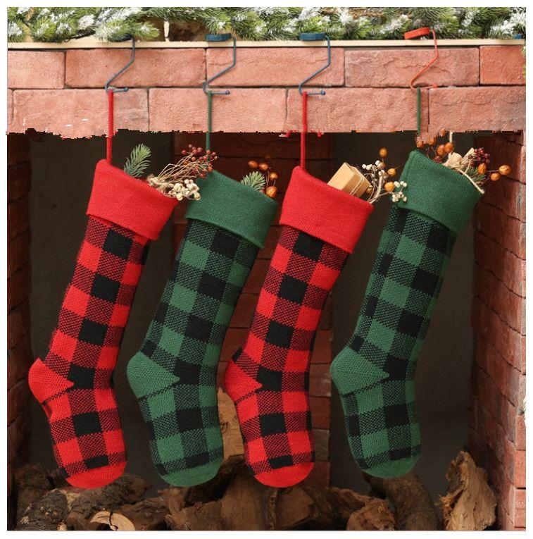 Christmas Party Socken Plaid-Verzierung Dekor hängende Strumpf Gitter Socken Geschenk Candy Bag Neujahr Prop Weihnachten Socken