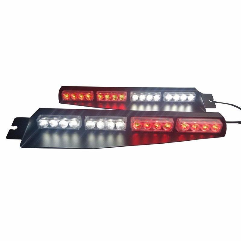 32LED 32W LED Lightbar Visor Light Windshield Emergency Hazard Warning Strobe Beacon Split Mount Deck Dash Lamp Green