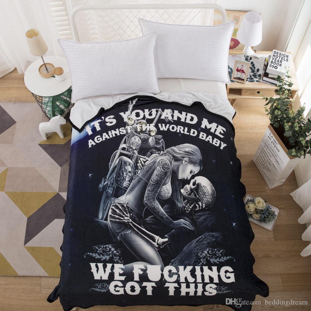 Высокое качество одеяло сексуальный печатный удобный скелет и красота поцелуй звездное небо покрывало 3D романтический черный модный домашний текстиль