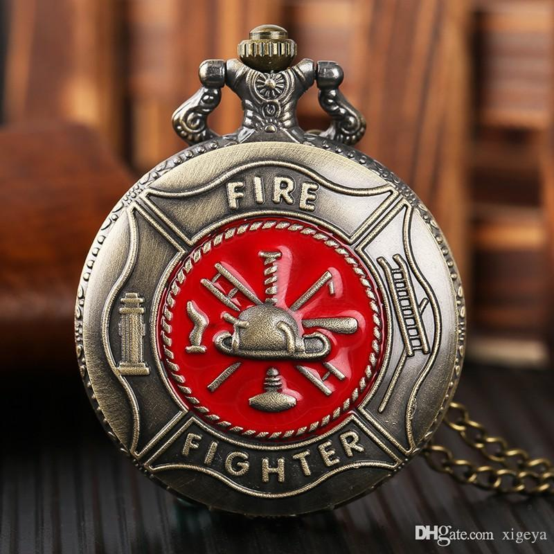 Classic Red Fire Fighter Design Pocket Watch Antique Bronze Copper Quartz Watches with Necklace Chain Creative Clock Fireman Gift