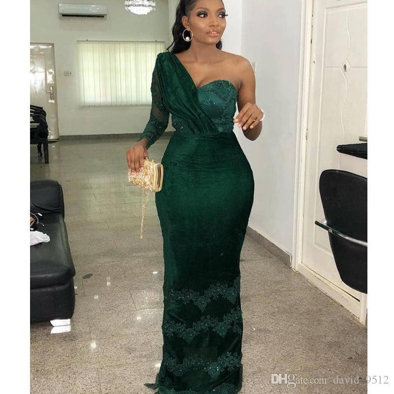 One shoulder Applique Evening Dresses Sheath Zipper Evening Party Dresses Beaded Cutaway Sides Dresses Deep Green Floor Length Prom Gowns