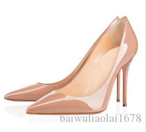 Créateur de mode chaussures pour femmes à talons hauts 8cm 10cm 12cm Nude noir rouge en cuir Bout pointu Escarpins Escarpins Chaussures habillées