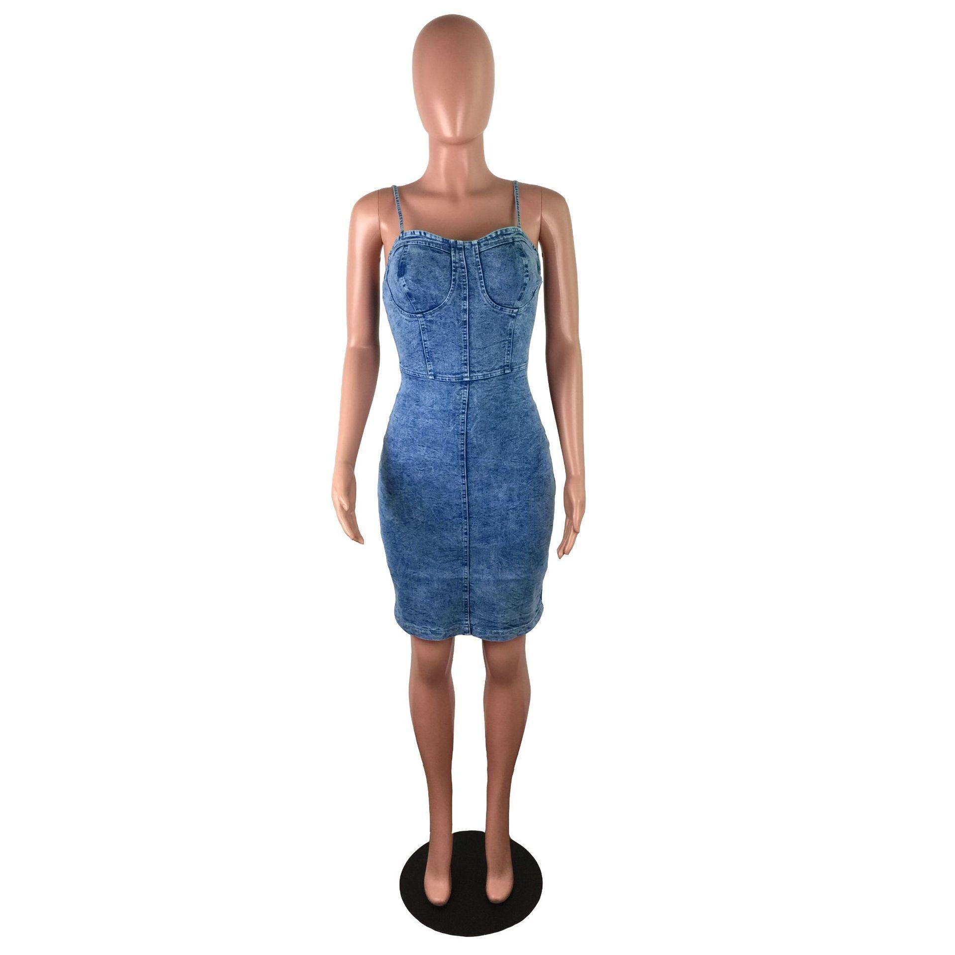 Женщин Sexy сплошной цвет платья вскользь Джинсовая юбка Спагетти ремень Дамы Base Одежда Мода без рукавов Одежда