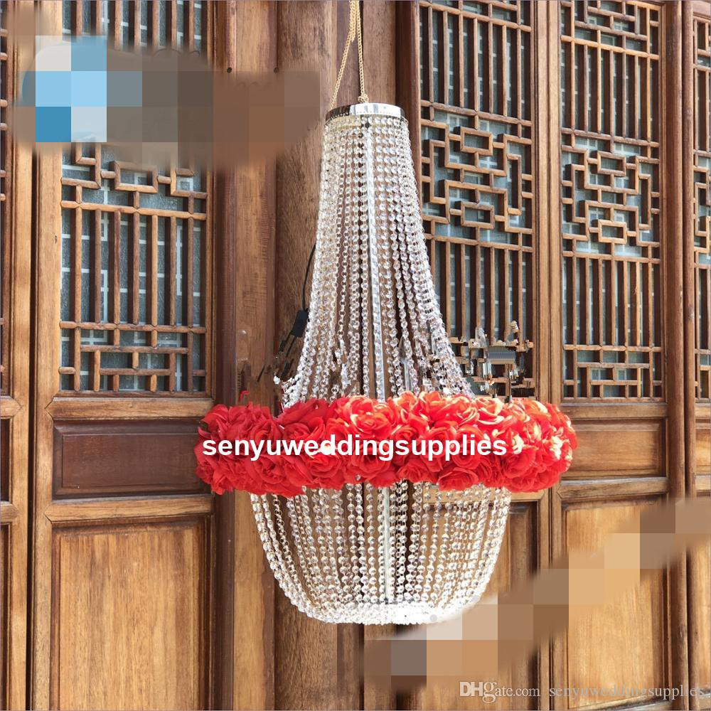 ışık yok) Yeni stil Büyük, modern büyük kristal boncuklu avize büyük düğün için fon / backgroup / düğün sahne dekorasyon senyu0486