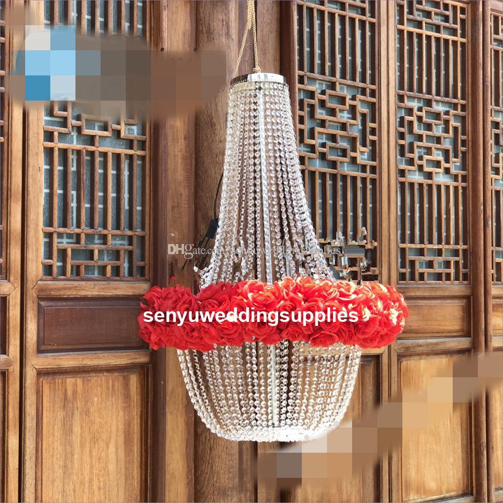 no light )New style Big modern big crystal beaded chandelier large for weddings backdrop /backgroup/wedding stage decoration senyu0486