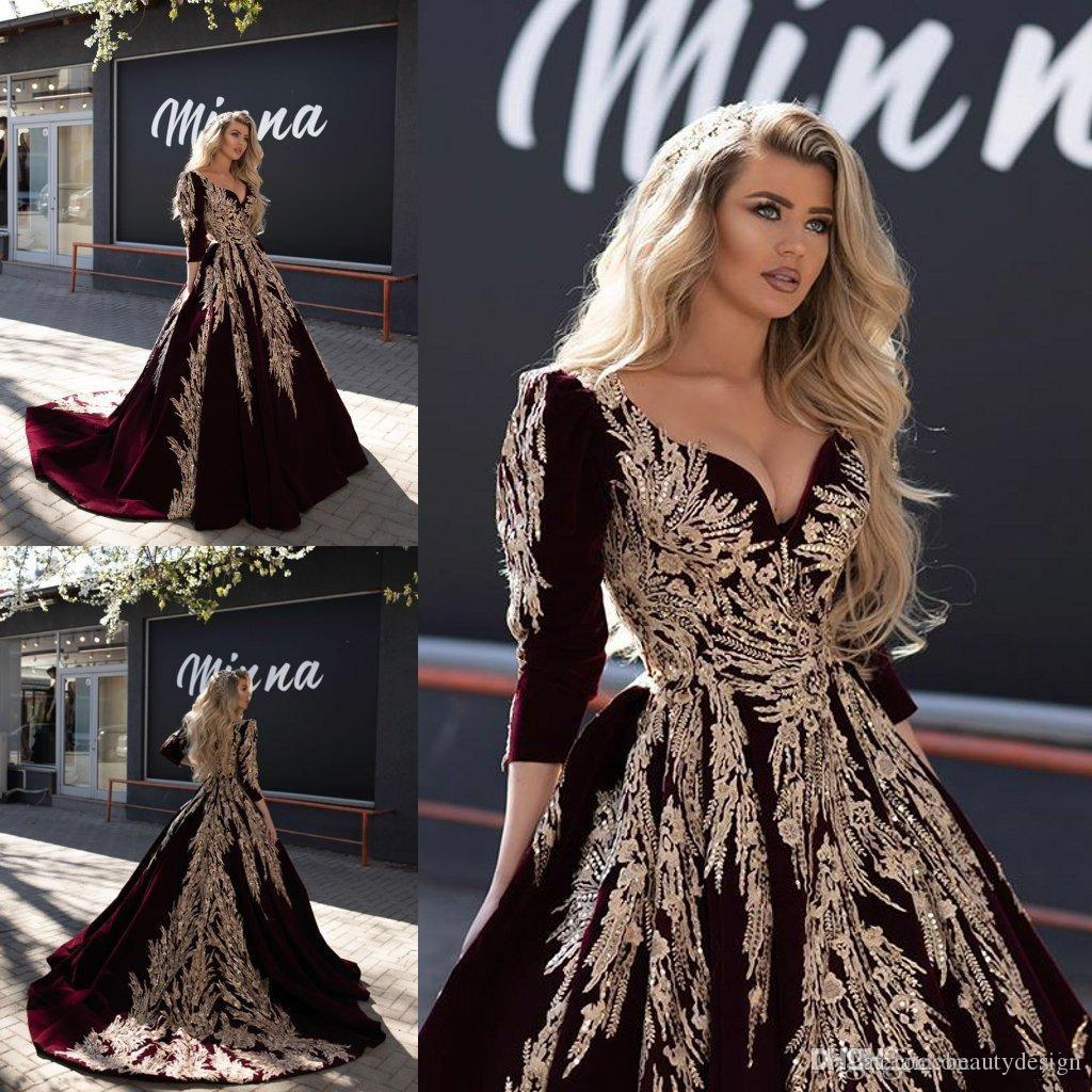 Bourgogne 2020 Dubaï arabe robe de bal robes de soirée en dentelle appliqued célébrité col en V manches longues robes de soirée robe de reconstitution historique