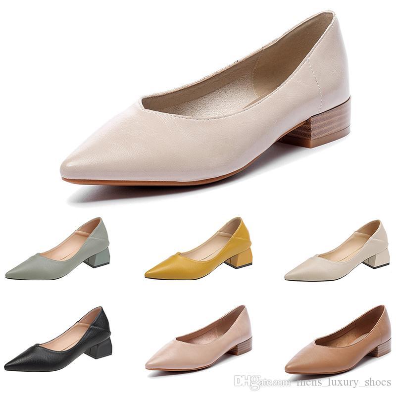 scarpe di cuoio casuali delle donne calde scarpe con punte bocca poco profonda jogging scarpe da trekking main12 colore puro Mid-tacco