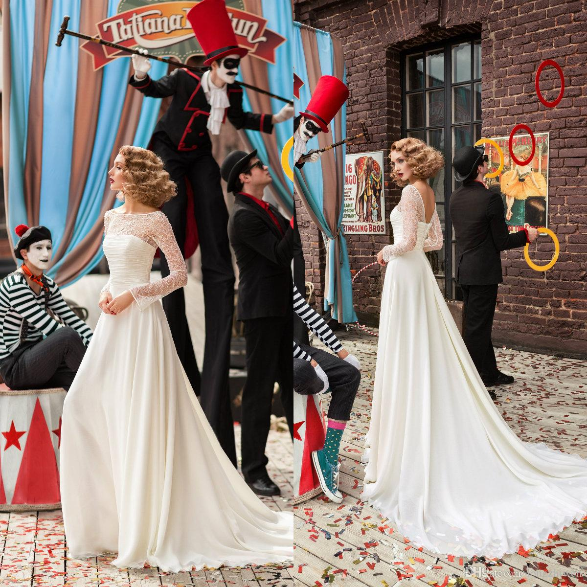 Une ligne magnifique robes de mariée Jewel manches longues Appliqued dentelle perlée Tulle mariage robe sexy dos nu balayage train Vestidos De Novia