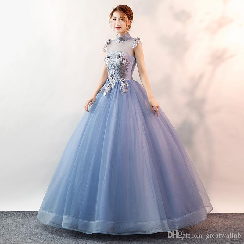 blaue Spitze Stickerei Blumenständer Kragen Renaissance Ball viktorianischen Kleid / Partei / Bühnen-Performance / mittelalterlichen Kleid / belle Kleid