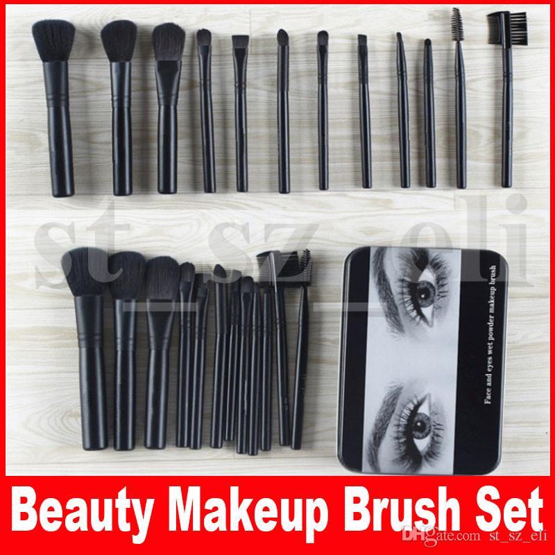 Beauty Makeup Brush Set 12 pcs Kit Iron Box Makeup Tools Black Brushes Beauty Tools Foundation Powder Cosmetics Brush