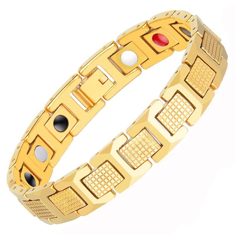 Hottime Mens Gold Color Bracelet Health Energy Germanium 316l Stainless Steel Bio Magnetic Bracelets Bangle For Men Jewelry Y19051002