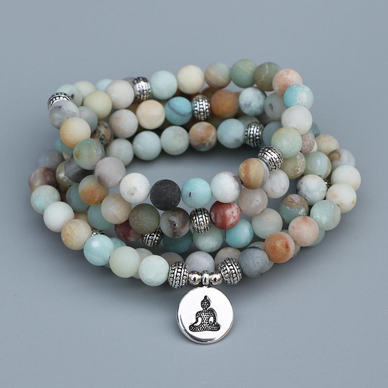 Edothalia 8mm Matte Frosted Amazonite Beads Mala Bracelet With Lotus, Buddha Charms Women Meditation Yoga Bracelet Dropshipping Y19051101