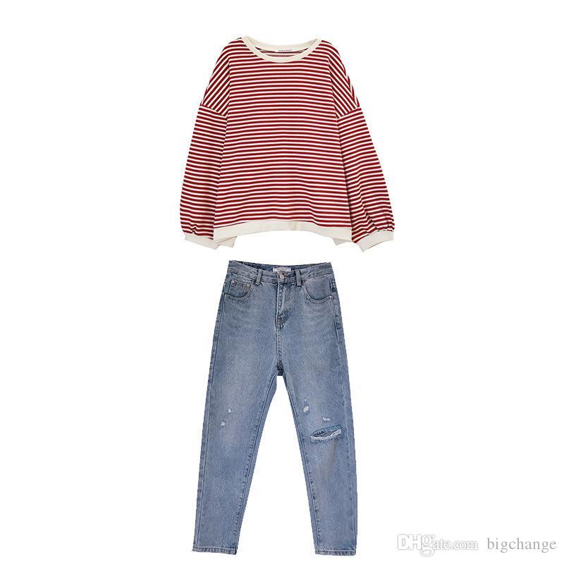 봄 여성 세트 여성의 경우 넥 풀오버 T 셔츠 파쇄 된 데님 바지 정장 라운드 2019 패션 정장 2 개 세트