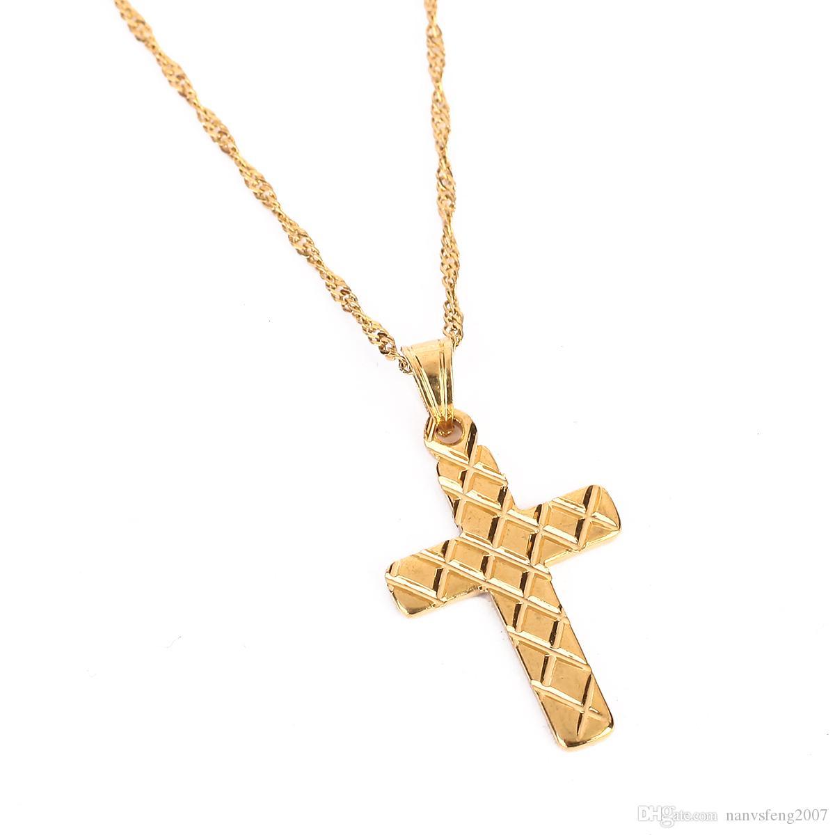 Cadena para hombre de moda de oro amarillo de color de acero inoxidable crucifijo jesús cruz collar hombres joyería venta al por mayor