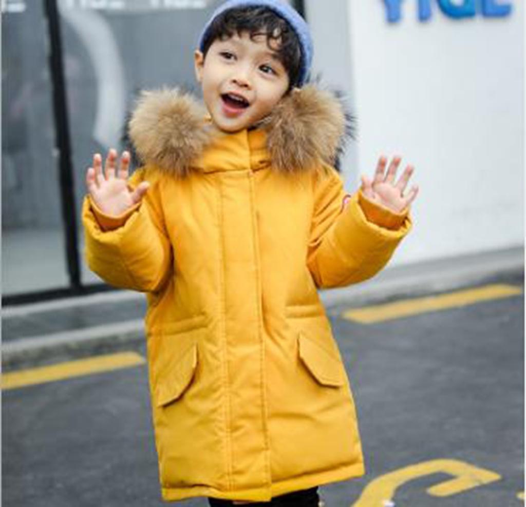 Großhandel neuen Stil große Pelzkragen Jungen und Kinder dicken Winter Kinder Daunenjacke